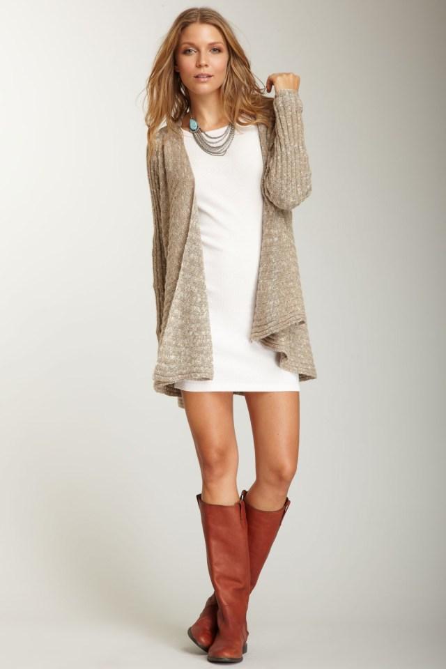 long cardigan sweater white dress knee boots