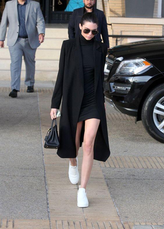 long coat black bodycon dress