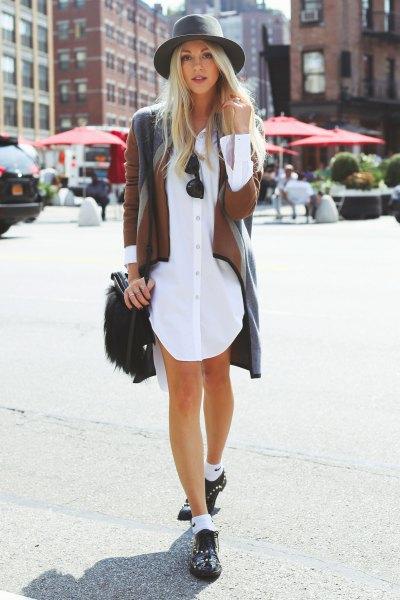 longline jacket button up shirt white