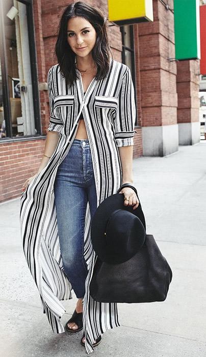 maxi striped shirt dress tube top