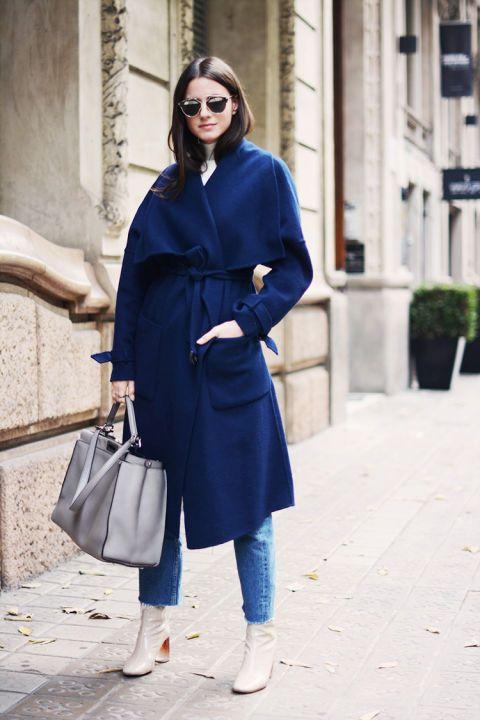 mid calf boots blue coat