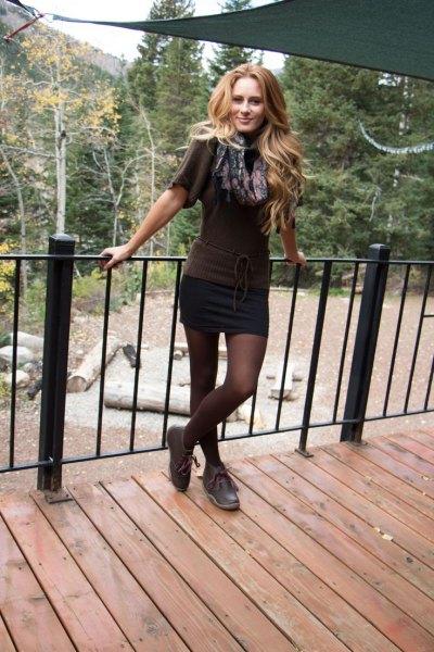 mini skirt grey short sleeve knit sweater chukka boots