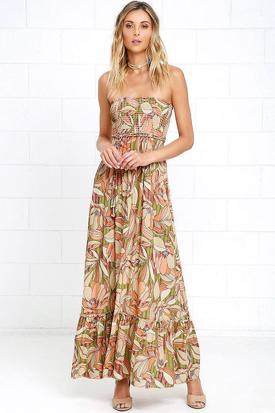 orange strapless maxi floral dress
