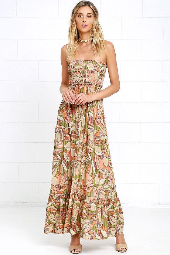 orange strapless maxi floral dress
