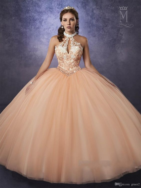 peach quinceanera dress bodice