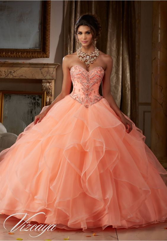peach quinceanera dress classic