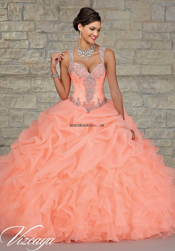 peach quinceanera dress strap sequins