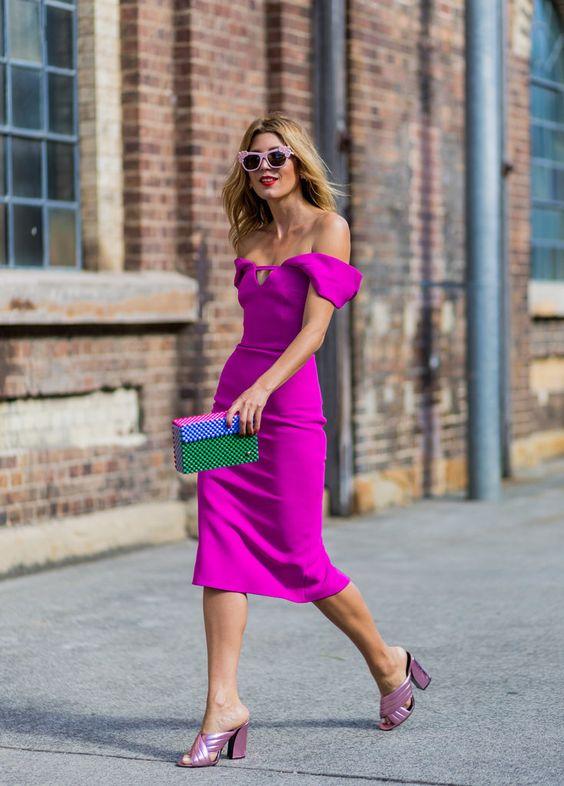 pink midi off the shoulder dress
