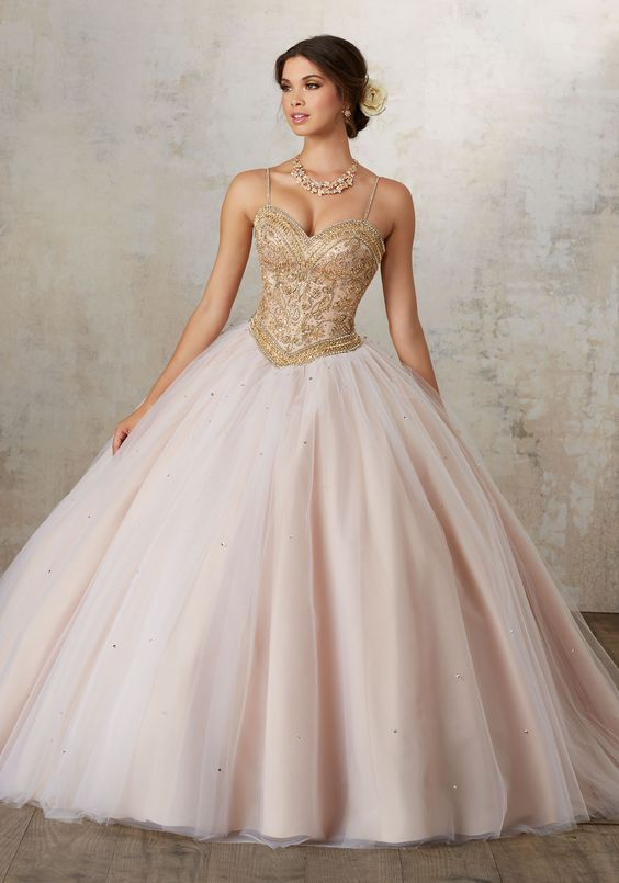 pink quinceanera dress gold
