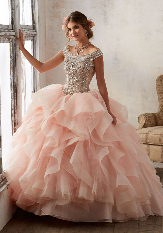 pink quinceanera dress strapless