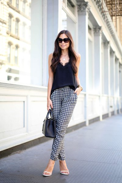 plaid print pants deep v vest top outfit