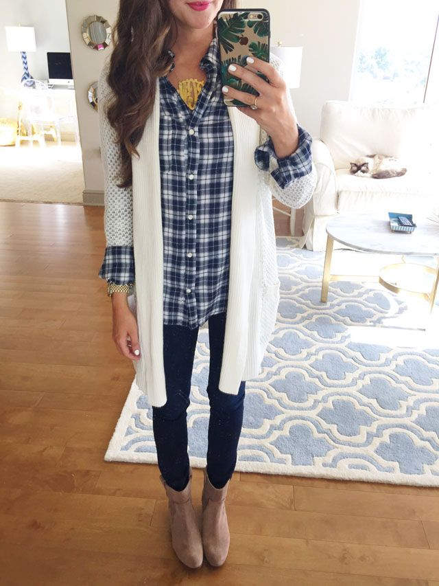 plaid shirt with cardigan