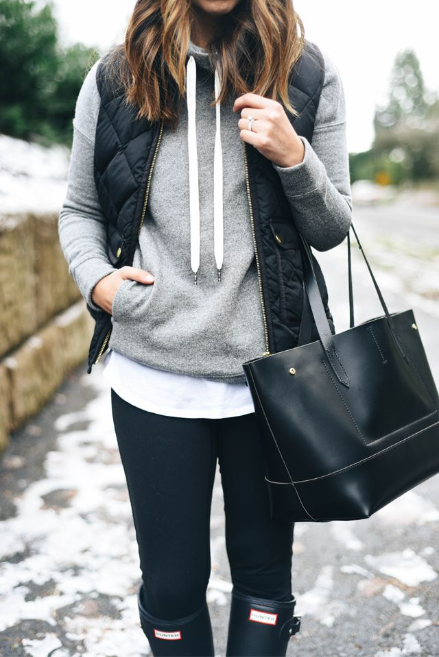 quilted vest over hoodie
