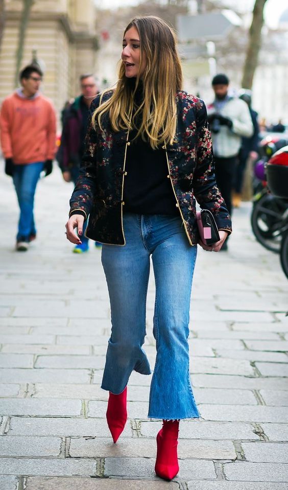 red booties jeans bell bottom