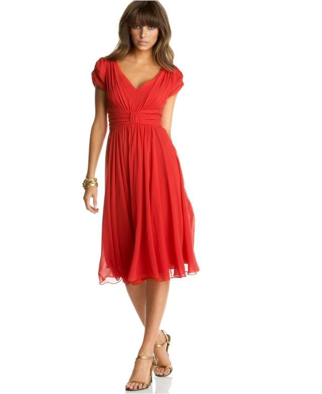 red empire waist dress