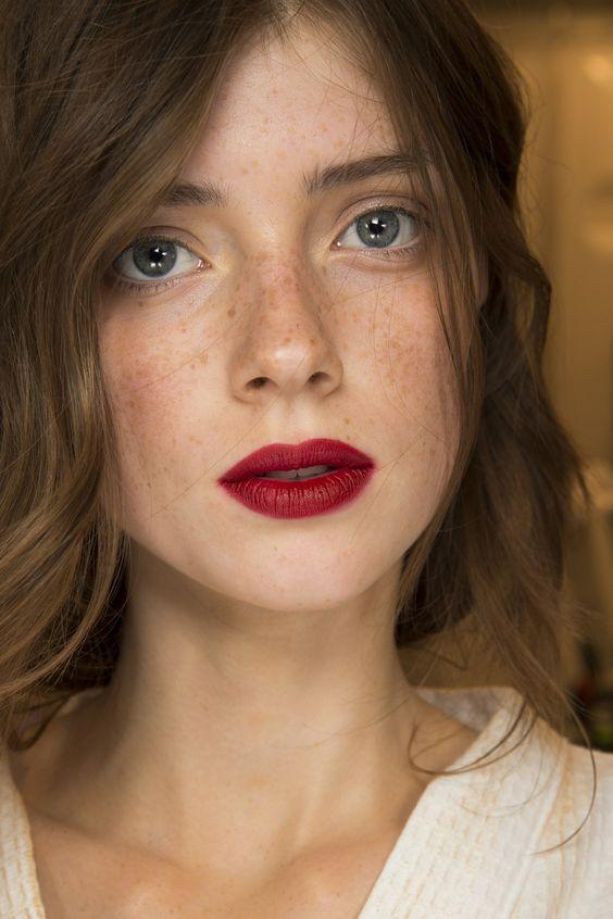 red matte lipstick natural