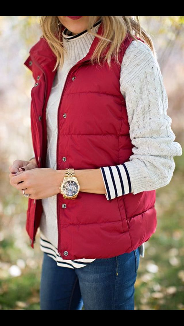 red quilted vest over knit sweater