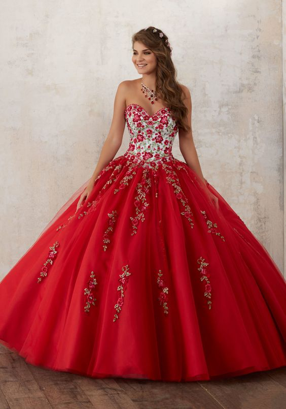 red quinceanera dress flowers