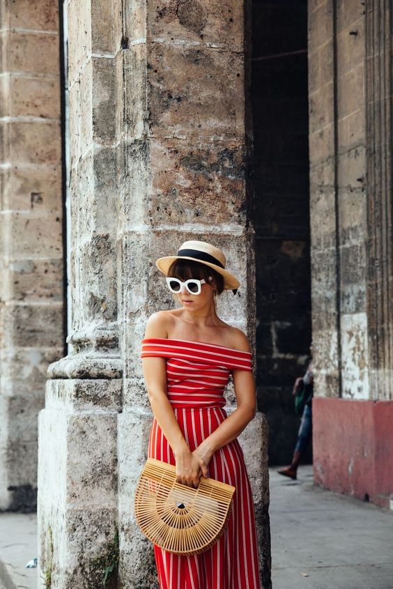 red striped off the shoulder dress