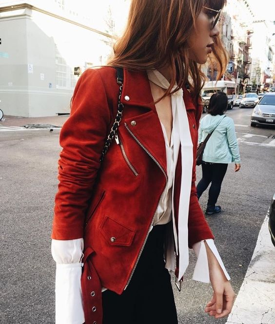 romantic blouse red leather jacket