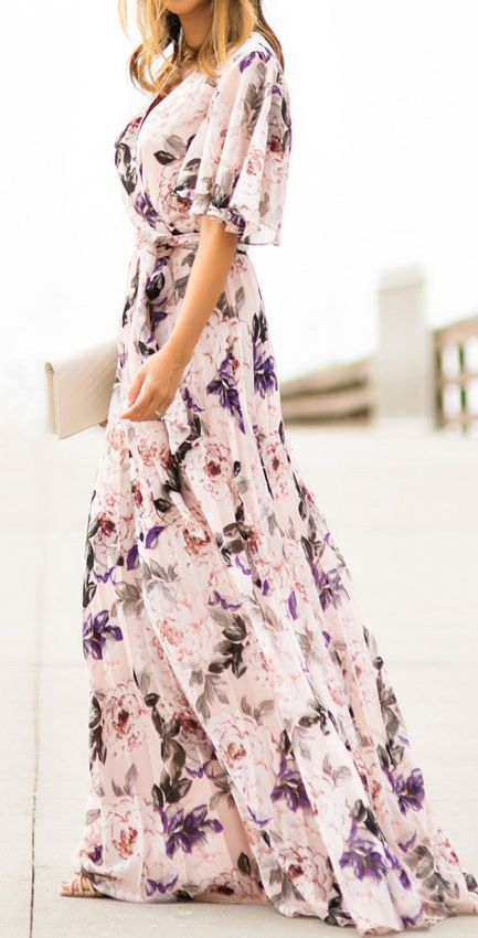 short sleeve white floral maxi dress