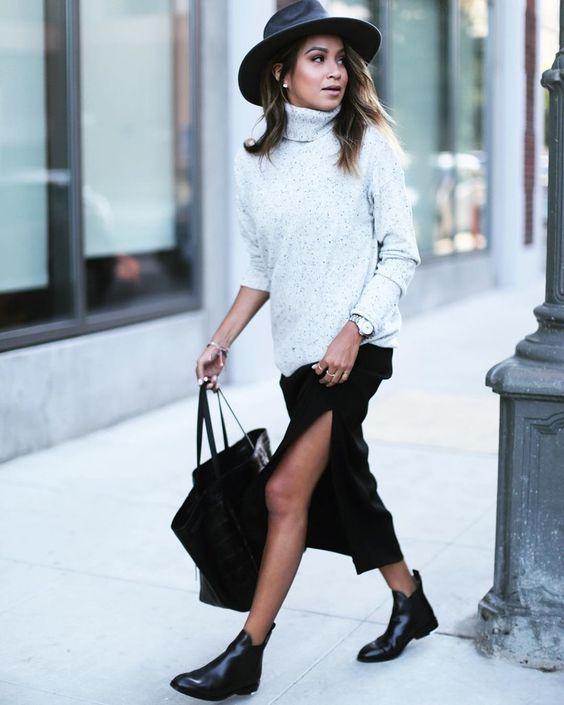 slitted skirt chelsea boots