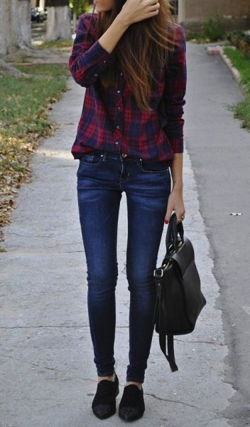 tucked in flannel plaid shirt skinny jeans