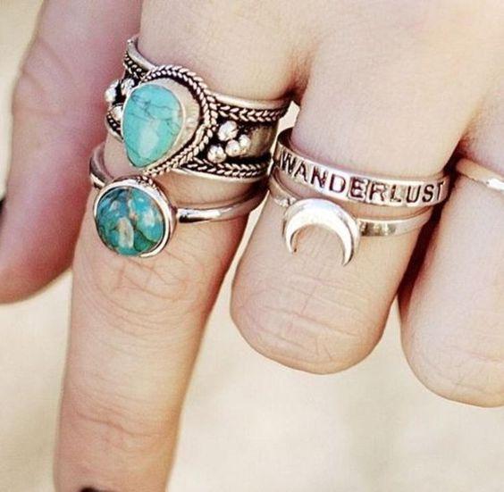 two rings boho stone