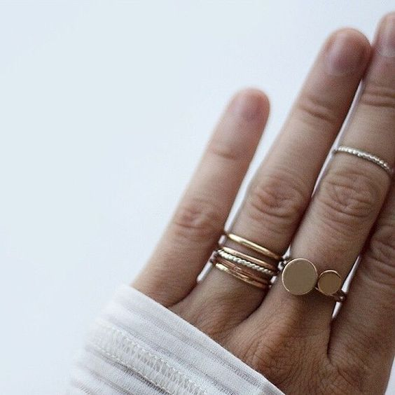 two rings rose gold mix