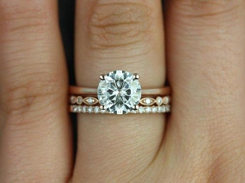 two rings wedding engagement rose gold