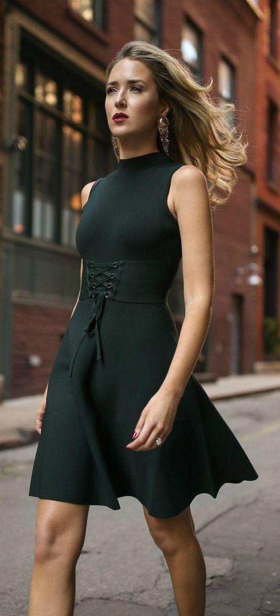 waist band emerald green dress