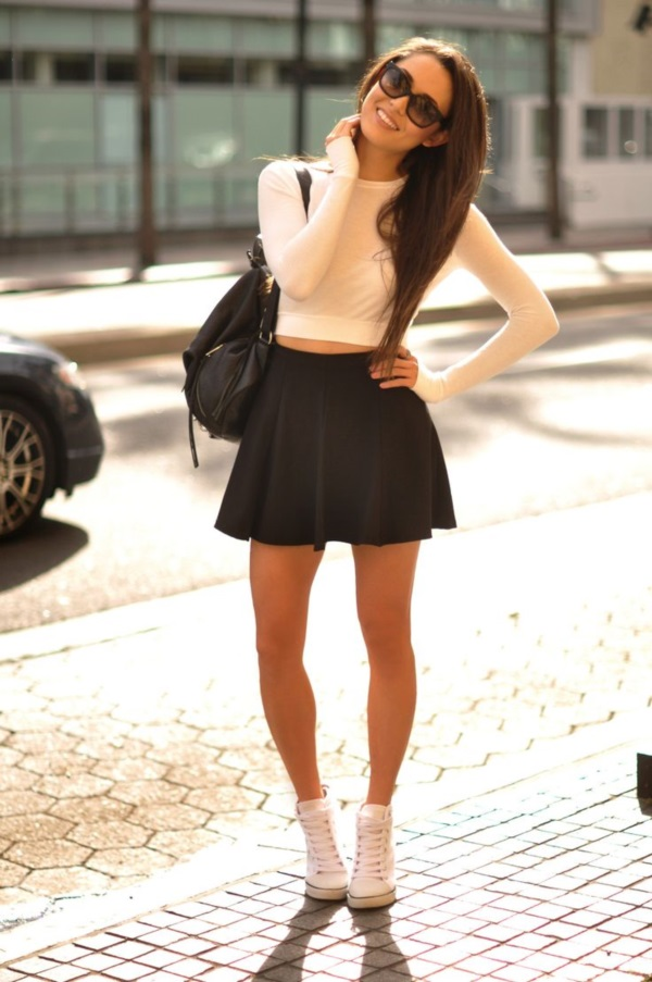 white converse crop top flared skirt