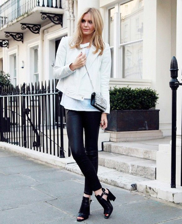 white leather jacket open toe booties