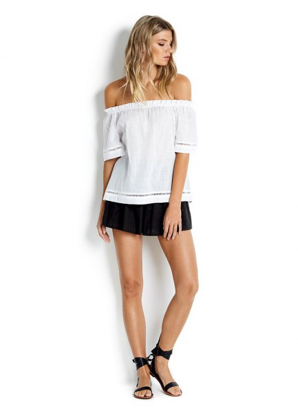 white off shoulder blouse black skort