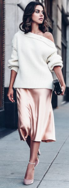 white off the shoulder sweater silk skirt
