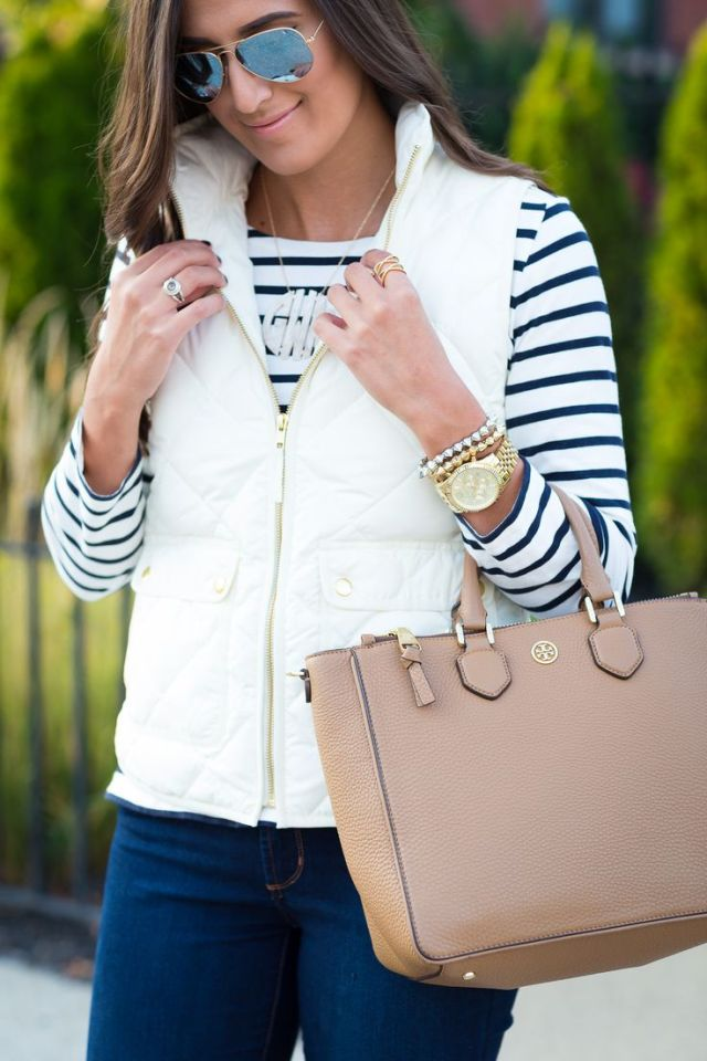 white quilted vest over striped tee