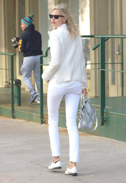 white shirt knit sweater pants