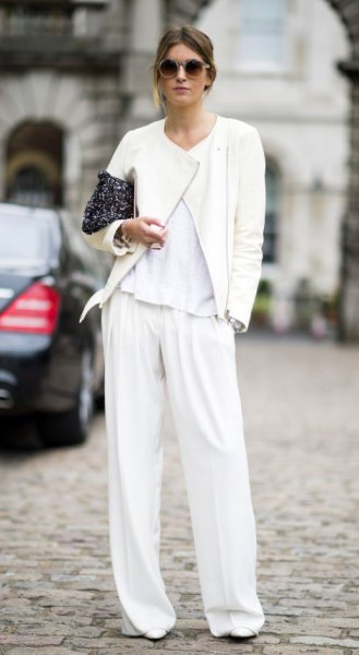 wide leg white pants bomber