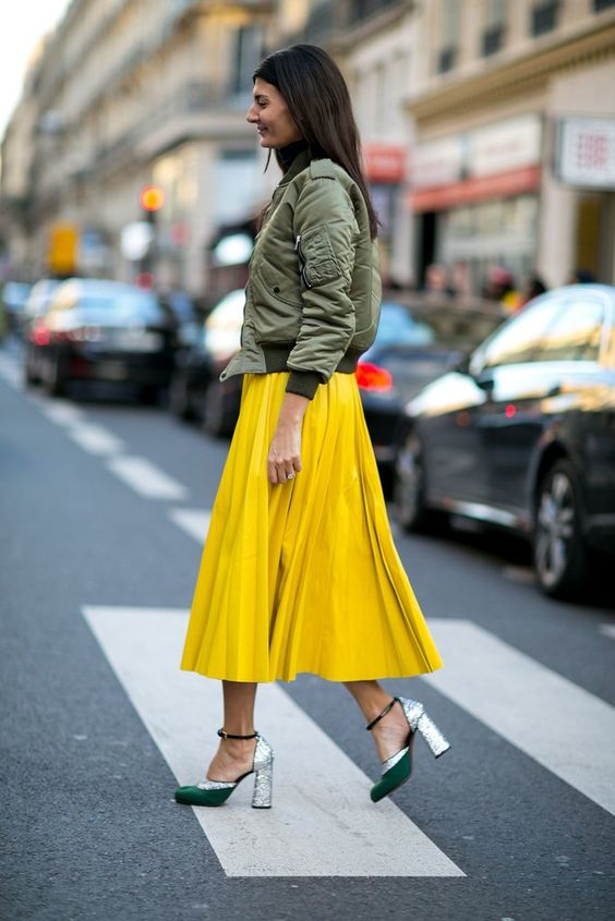 yellow skirt green bomber jacket