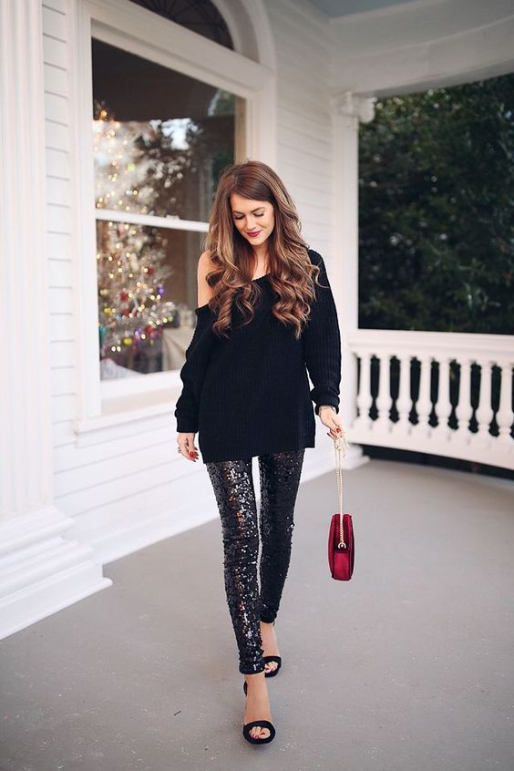 sequin leggings over the one shoulder sweater