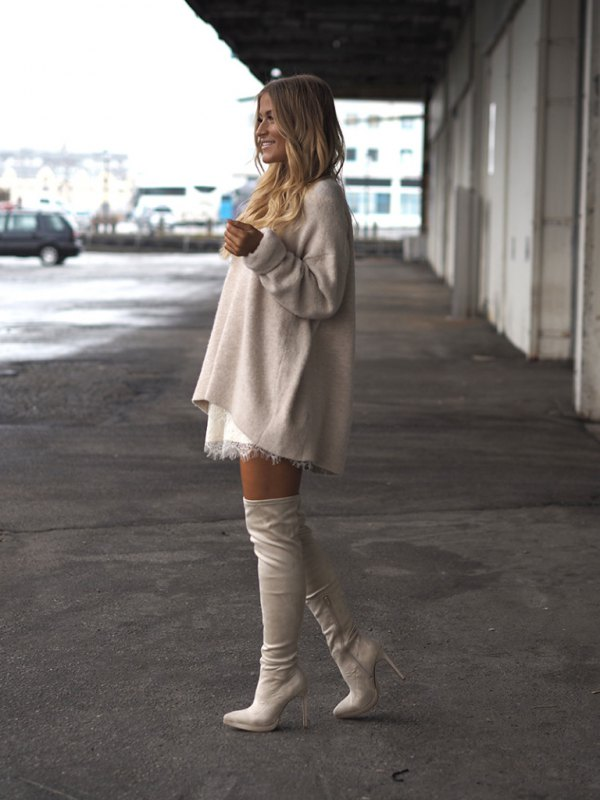 best white leather boots outfit ideas