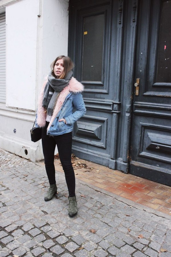 How To Wear Fur Collar Denim Jacket 15 Best Outfit Ideas - FMag.com