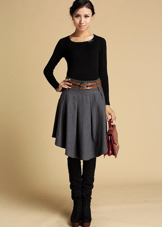 best grey wool skirt outfits