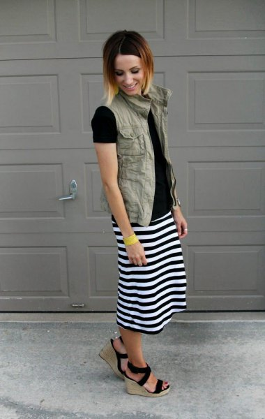 black and white midi skirt cargo vest