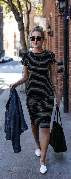 black and white sheath dress white loafers