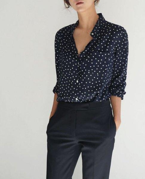 Black And White Polka Dot Shirt Womens