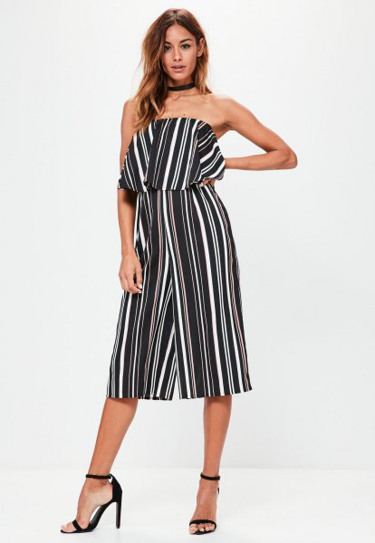 black and white striped bandeau culotte jumpsuit