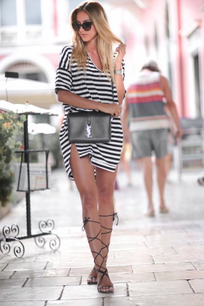 black and white striped split mini dress