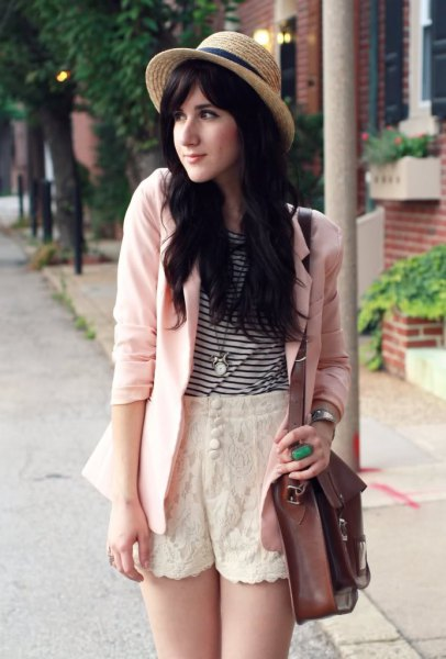 black and white striped t shirt white blazer