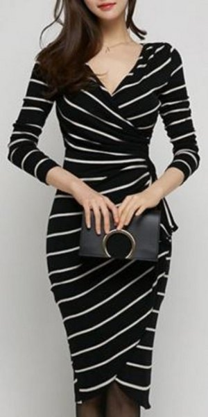 black and white v neck skinny fit wrap dress